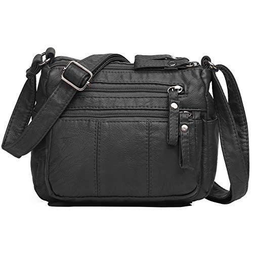 Volcanic Rock Women Crossbody Bag Pocketbooks Soft PU Leather Purses and Handbags Multi Pocket Shoulder Bag (Black-8.5