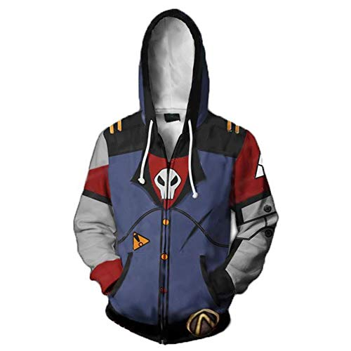 Unisex 3D Printed Hoodie Halloween Costume Cosplay Hooded Jacket Coat Full Zipper Sweatshirt for Mens ()