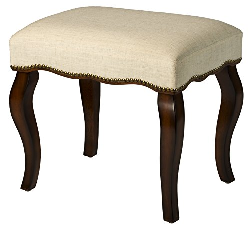 Hillsdale Furniture Hamilton Backless Vanity Stool, Burnished Oak Wood and Ivory Upholstery with Nail Head Trim from Hillsdale Furniture