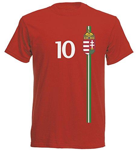 Ungarn Magyarország Herren T-Shirt Nummer 10 Trikot Fußball Mini EM 2016 T-Shirt - S M L XL XXL - rot NC ST-1