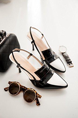 Verano nuevo baotou Black zapatos de sandalias sandalias mujer con casual profundas tacón de zapatos de alto poco sandalias tacón ZHZNVX wqRd5Btw