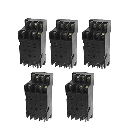 - Aexit DYF-11A 11 Control electrical Pin Power Relay Base Socket DIN Rail Mount 5 Pcs