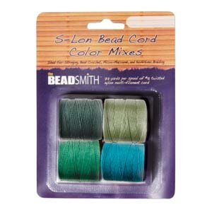 4 Spools Super-lon #18 Cord Ideal for Stringing Beading Crochet and Micro-macram Jewelry Compatible with Kumihimo Projects S-lon Evergreen ()