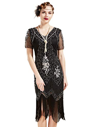 BABEYOND 1920s Art Deco Fringed Sequin Dress 20s Flapper Gatsby Costume Dress (Black Silver, X-Small)]()