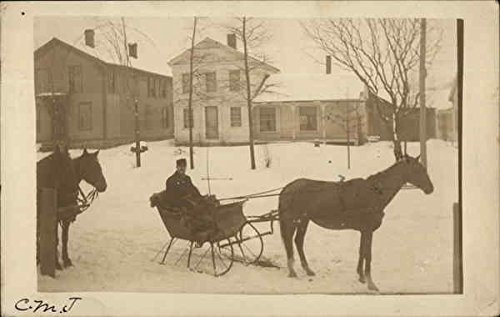 Riding in a Horse Drawn Sleigh Castle Creek, New York Original Vintage Postcard Creek Sleigh