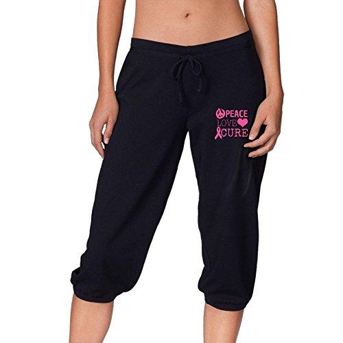 Peace Love Cure Breast Cance Heart Women's Active Drawstring Jogger Sweatpants Capri Pants XXL