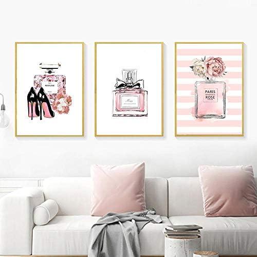 抽象キャンバス絵画ポスター香水壁アートプリントパルファム画像プリントリビングルームの装飾-50x70cmx3ピースフレームなし