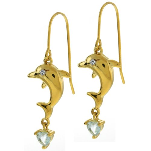 Beautiful Sterling Silver Dangling Dolphin Earrings with Diamond Accent