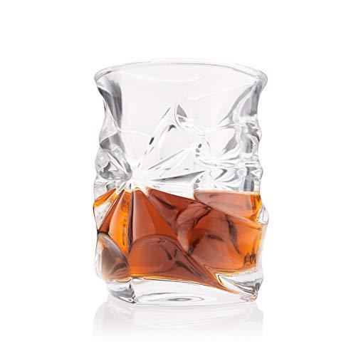 Vortex Whiskey Glasses, Set of 4 - Exclusive Heavy Scotch Tasting Glass Whisky Glassware - Elegant Ergonomic Old Fashioned Nosing Tumblers - Patent Pending Design ()
