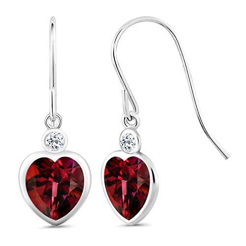Gem Stone King 4.28 Ct Crimson Red Mystic Topaz White Topaz 925 Sterling Silver Earrings ()