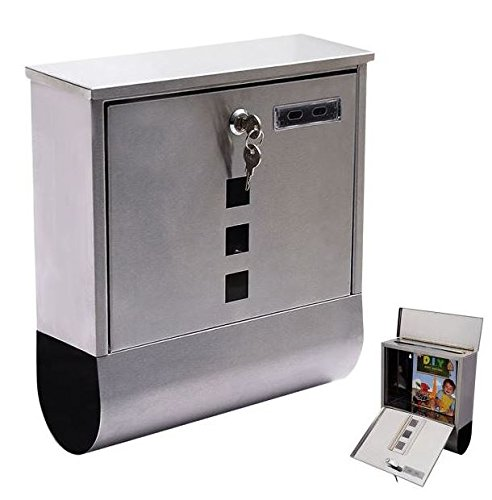 Produit Royal Wall Mount Mail Box Stainless Steel Letter Bills Magazine Mailbox with Newspaper Roll, Retrieval Door, and 2 keys Post Box Security Heavy Gibraltar Modern New