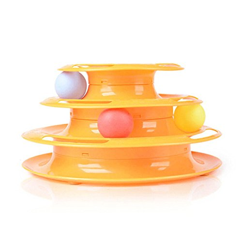HYSUNG Three Layers Pet Toys Cat Toy Tower Tracks Triple Play Disc Crazy Amusement Intelligence Funny with Three ()