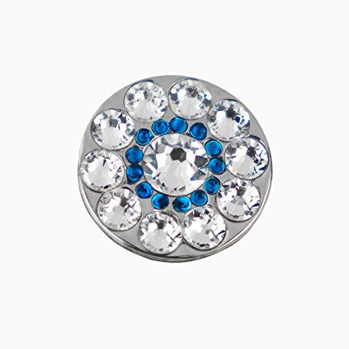 Girls Golf Bling Swarovski Crystal Golf Ball Markers - Premium Golf Gifts for Women (Spyglass Hill Blue, Mini) ()