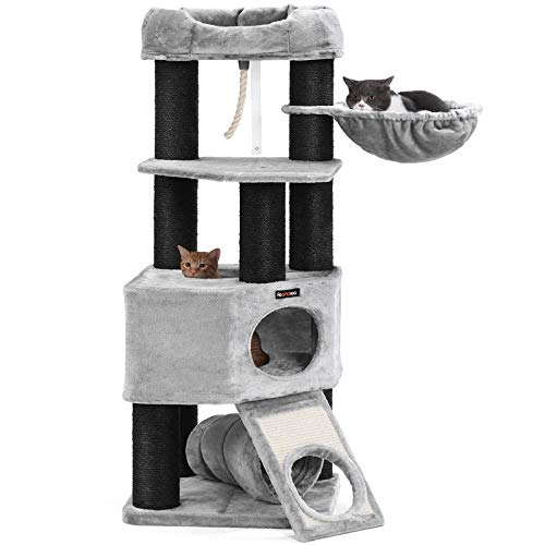 (FEANDREA Cat Tree, Large Cat Tower with Fluffy Plush Perch, Cat Condo with Basket Lounger and Cuddle Cave, Extra Thick Posts Completely Wrapped in Black Sisal Light Grey UPCT02W)