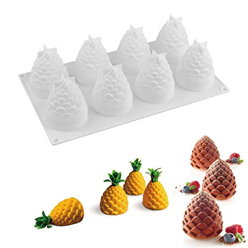 Silicone Mousse Molds for Halloween Christmas Cake Truffle Jelly Desserts ,DIY Baking Tools , Non Stick , Food Grade Silicone, BPA Free, Pack of 1 (3D Pinecone) ()