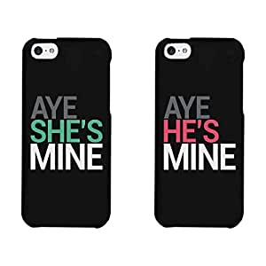 Aye She's Mine, Aye He's Mine Couples Matching Cell Phone Cases for iphone 4, iphone 5, iphone 5C, iphone 6, iphone 6 plus, Galaxy S3, Galaxy S4, Galaxy S5 in Black by supermalls