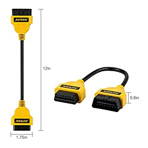 AUTOOL 1FT Feet 30cm/12 OBD II OBD2 16 Pin Male to Female Extension Cable Car Diagnostic Extender Cord Adapter for OBD2 Scanner OBDII Code Reader (Tamaño: OBD2 Code Scanner)