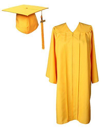 GradPlaza Graduation Gown with Cap and Tassel 2019 Unisex Matte Robe Gold