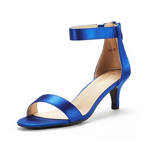 Paires De Rêve Femmes Fiona Mode Stilettos Bout Ouvert Pompes Sandales À Talons Royal Blue