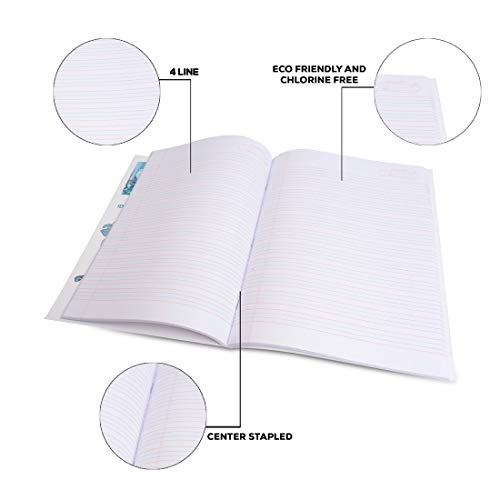 Classmate Notebook - Four Lines with Gap, 240mm*180mm, 172 Pages (Pack Of 12)