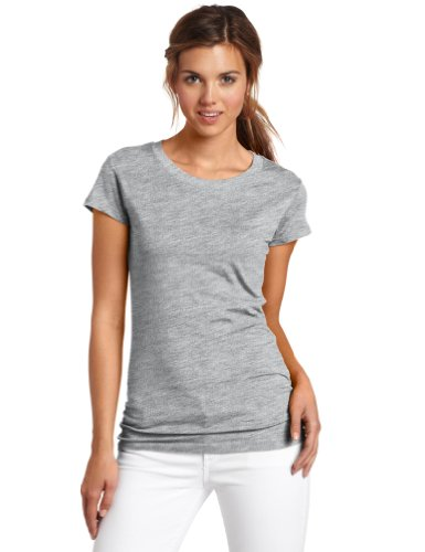 Dickies Girl Juniors Short Sleeve Crew Neck Tee,Heather Grey,Large