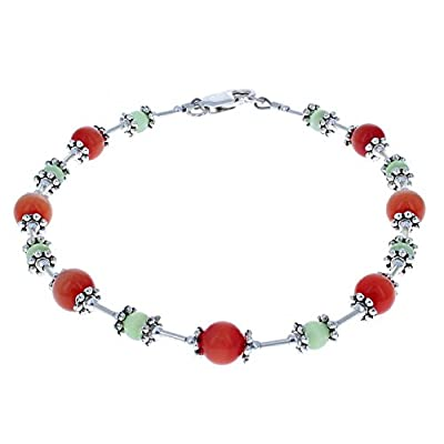 Cheap Timeless-Treasures Womens Orange & Green Cats Eye (Fiber Optic) & Sterling Silver Beaded Anklet with Daisies for cheap