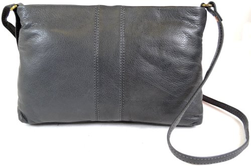 Ladies Soft Premium Leather Shoulder/Cross Body Bag (Black, Brown, Ox, Blue, Charcoal, Tan, Red) Charcoal
