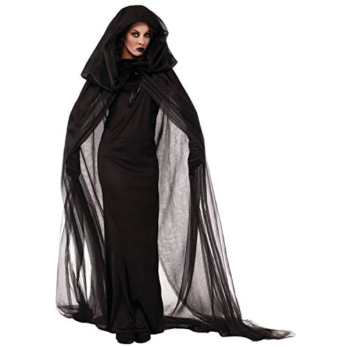Halloween Costume Blood Ghost Witch for Women Cloak with Hood Have Plug Size Party (Size : -