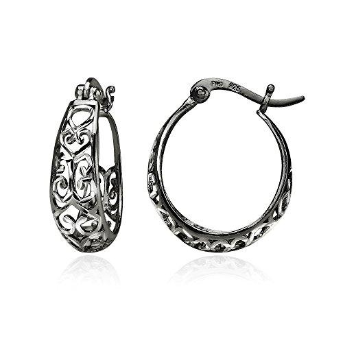 Black Flashed Sterling Silver Two-Tone Diamond-cut Filigree Swirl Small Hoop (Small Swirl Earrings)