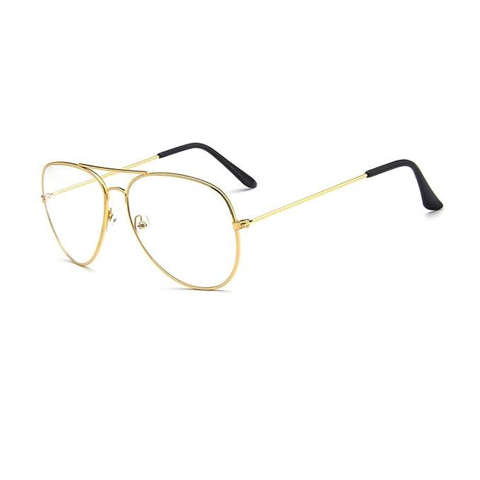 e3e20ea39b Montura Gafas de Aviador para Hombre y Mujer con Montura de Metal-acero  Fino Retro Vintage Lente Transparente Visión Clara: Amazon.es: Ropa y  accesorios