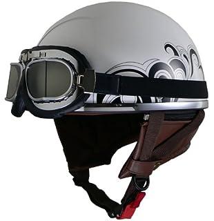 (57〜59cm) ハーフヘルメット フリーサイズ OGK PF-5 ビンテージゴーグル付き