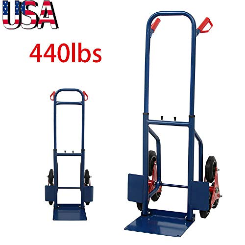 """Manoch 440 Lb Stair Climbing Climber Moving Dolly Hand Truck Warehouse Appliance Cart US Stock Material: Steel Frame And Rubber Wheel Dimensions:(25.59 x 18.9 x 44.88)"""" / (65 x 48 x 114)cm (L x W x H)"""