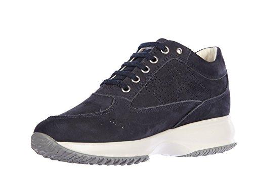 Hogan Scarpe Da Donna Scarpe Da Ginnastica In Pelle Scamosciata Sneakers Interattive H Bucata Blu