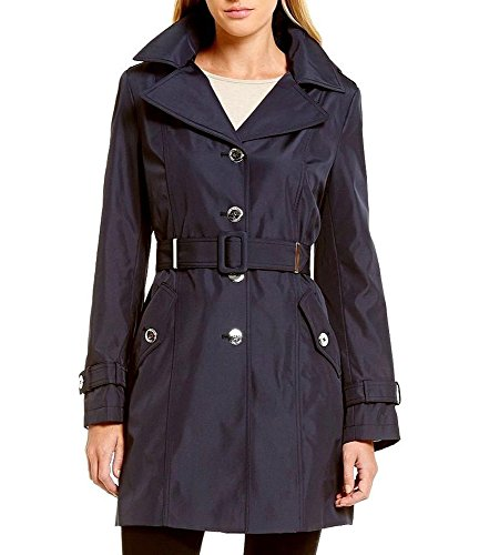Calvin Klein Women's Hooded Single-Breasted Water-Resistant Trench Coat, Navy, Size XL ()