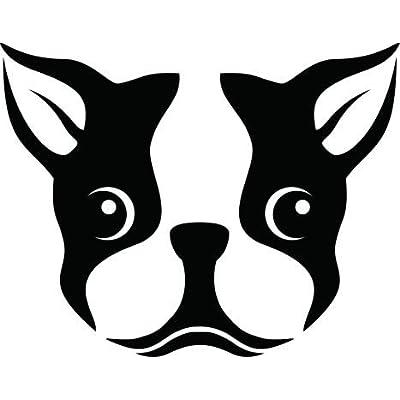 CCI Boston Terrier Dog Face Decal Vinyl Sticker|Cars Trucks Vans Walls Laptop| Black |5.5 x 4.5 in|CCI488: Automotive