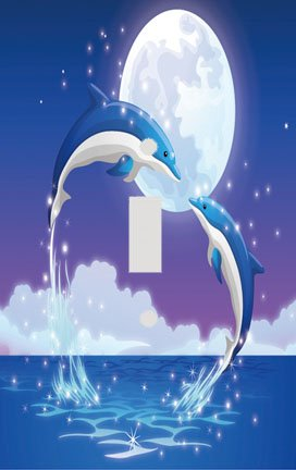 Dolphin Kiss Switchplate - Switch Plate Cover (Switchplate Dolphin)