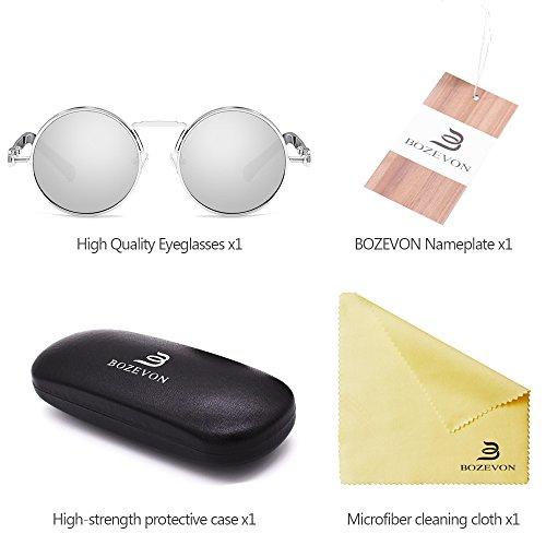 400 Sunglass Protección Ronda Metal Mujeres los con Blanco Hombres plateado las para y BOZEVON UV Steampunk UqS0YgWtnt