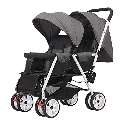 OCYE Double Stroller/Tandem Stroller/Double Stand Stroller/Side by Side Tandem Umbrella Stroller, Foldable Wide Sleeping Basket Multi-Range Adjustable Awning Oversized Basket