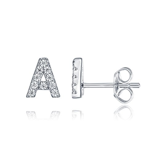 PAVOI 925 Sterling Silver CZ Simulated Diamond Stud Earrings Fashion Alphabet Letter Initial Earrings - A