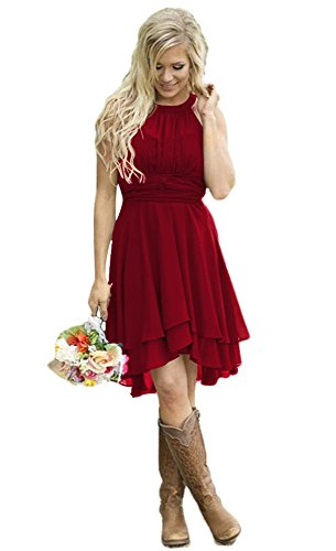 (Andybridal Women's Country High Low Halter Chiffon Bridesmaid Dress Western Wedding Guest Dress Wine Red)