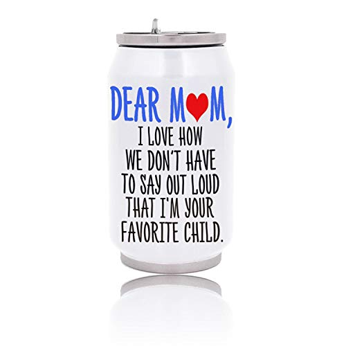 LKBFKls Vacuum Insulated Cup Dear Mom, I'm Your Favorite Child Stainless Steel Coffee Mug Water Bottle Creative Thermal Drink Can Cola Cans Sport 350ml with Straw White