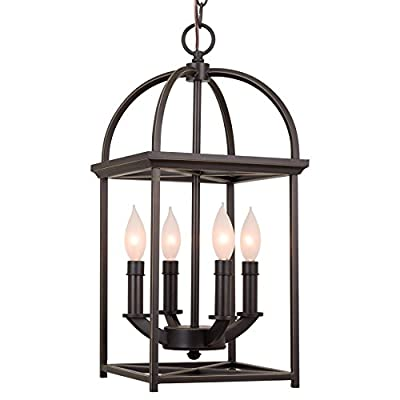 "Kira Home Amesbury 21"" 4-Light Farmhouse Lantern Chandelier, Bird Cage Entry Light, Oil Rubbed Bronze Finish - VINTAGE FOYER LANTERN: Classic oil rubbed bronze light fixture with sturdy metal frame showcases a stunning hand-painted gold trim around a candelabra base. Fits many styles including rustic farmhouse and modern. Enhance your space with its gorgeous glow ELEVATE ANY SPACE: Mount this farm style foyer light made from heavy duty metal in many areas. Perfect for locations with high ceilings such as foyers or entryways, over kitchen and dining room tables or kitchen islands. Dimmer & sloped ceiling compatible UL LISTED FOR YOUR SAFETY: UL listed for dry locations. Uses (4) LED, CFL, or up to 60W Type B candelabra base bulbs. Easily install and change bulbs with the shade's open design. Bulbs sold separately - kitchen-dining-room-decor, kitchen-dining-room, chandeliers-lighting - 41LsGkCBX9L. SS400  -"