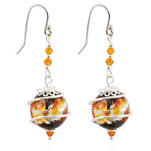 CewanCe handmade Orange Japan's Style Glass Beads Jewelry Drop Earrings With Swarovski Elements crystals (ear9-Orange)