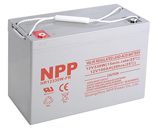NPP HR12330W 330W 12V 100Ah Rechargeable High Rate Sealed Lead Acid Battery With Button Style Terminals by NPP
