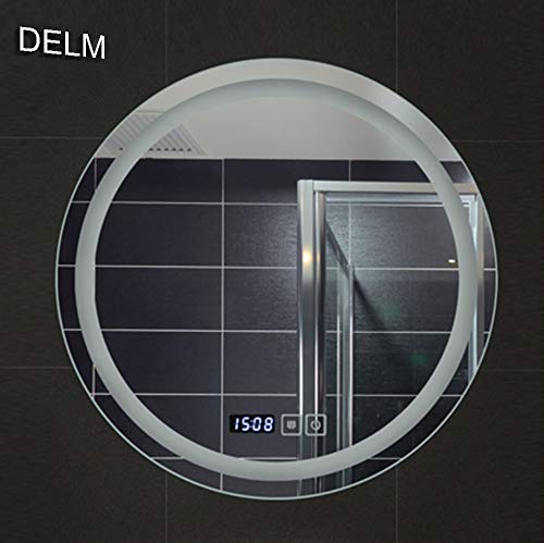 (DELM Adjustable Two-Color lamp Mirror,Modern LED Lighted Wall Bathroom Mirror,Time + Anti-Fog + Temperature,60cm/70cm)