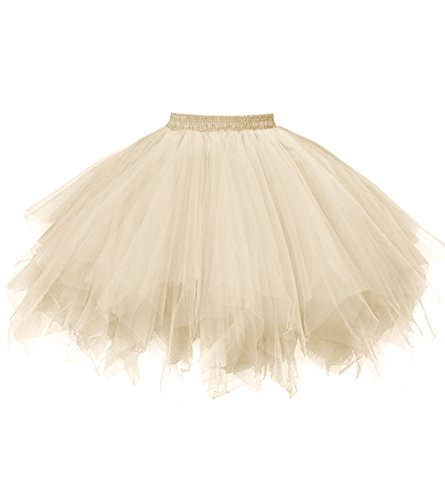 Dresstore Women's Short Vintage Petticoat Skirt Ballet Bubble Tutu Multi-colored Champagne S/M