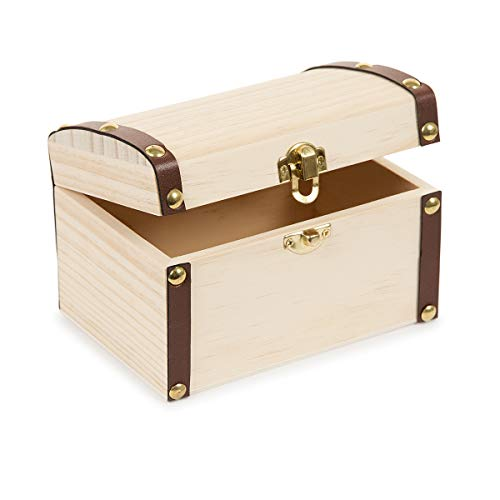 Darice 30024513 Wooden Treasure 5.9 x 3.9 inches Wood Box, Unfinished/Natural