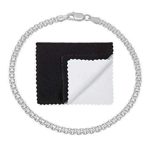 3mm .925 Sterling Silver Nickel-Free Italian Bismark Link Bracelet, 8 inches ()