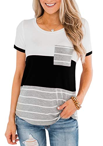 ZC&GF Women's Round Neck Color Block Stripe T-Shirt Pocket Tops Blouses