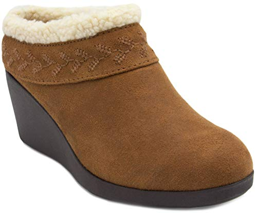 (Gloria Vanderbilt Women's GV Essie Micro Suede Wedge Clog Shoe with Fleece Collar and Fuzzy Fur Lining Black)